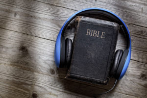 Bible and headphones